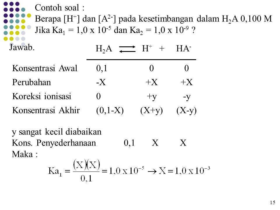 Berapa [H+] dan [A2-] pada kesetimbangan dalam H2A 0,100 M
